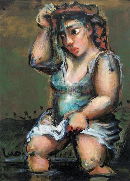 过河 纸板  油画 - 119145 - 油画 版画 - 2006秋季艺术品拍卖会 -收藏网