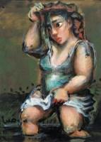 过河 纸板  油画 - 罗中立 - 油画 版画 - 2006秋季艺术品拍卖会 -收藏网