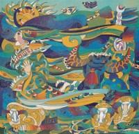 陈斌 藏女白塔和牛 镜心 设色绢本 - 84184 - 中国书画 - 2006年秋季拍卖会 -收藏网