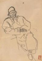 齐白石像 镜心 炭笔纸本 - 叶浅予 - 中国书画 - 2006秋季大型艺术品拍卖会 -收藏网