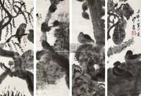 花鸟 四屏 水墨纸本 - 154481 - 中国书画(二) - 2011年夏季拍卖会 -收藏网
