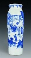 明崇祯 青花人物纹象腿瓶 -  - 古董珍玩专场 - 2008年迎春艺术品拍卖会 -收藏网