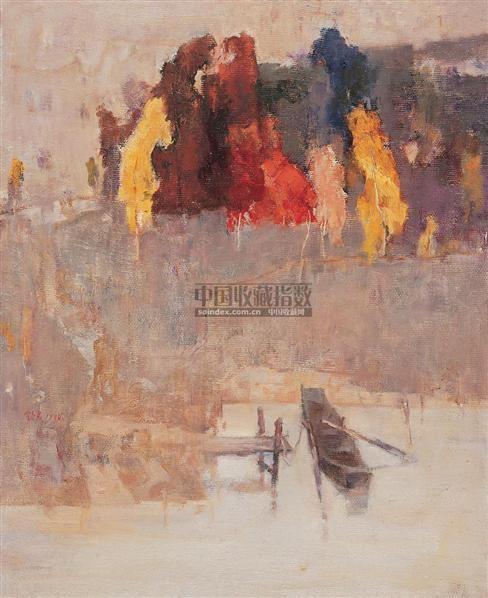 小舟 布面油画 - 140873 - 中国油画及雕塑 - 2005秋季拍卖会 -收藏网