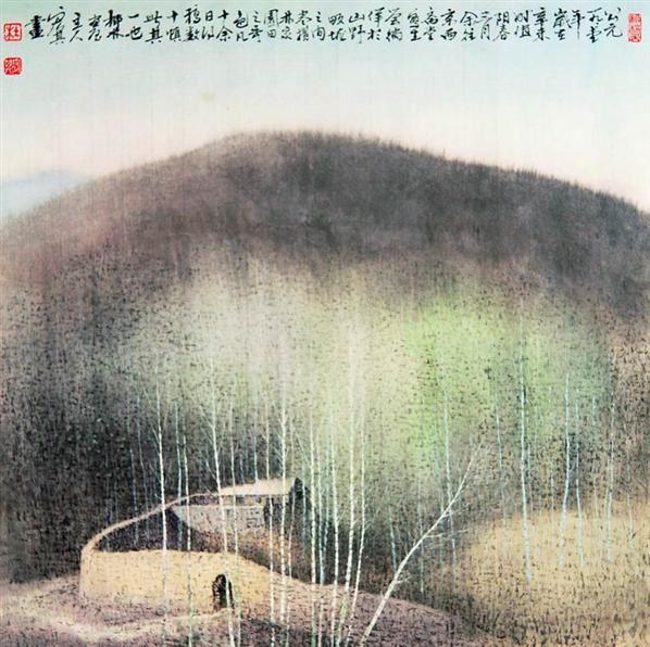 山村小景 镜心 设色纸本 -  - 中国书画 - 2008太平洋迎春艺术品拍卖会 -收藏网
