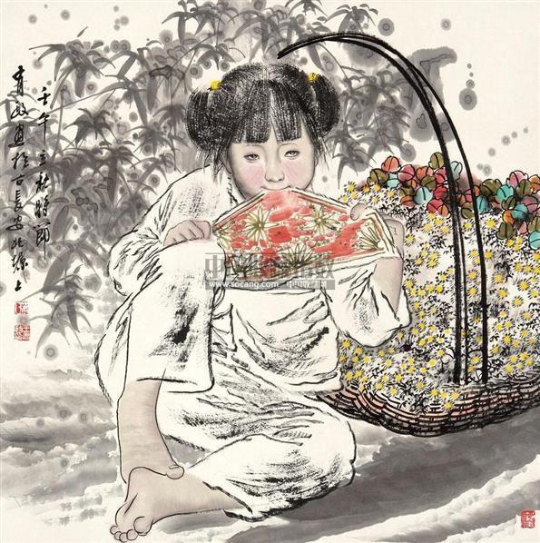 陕北女孩 镜片 - 5448 - 中国书画 - 2011年春季艺术品拍卖会 -中国收藏网