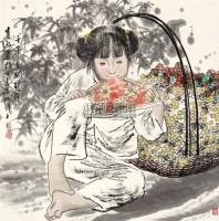 陕北女孩 镜片 - 5448 - 中国书画 - 2011年春季艺术品拍卖会 -收藏网