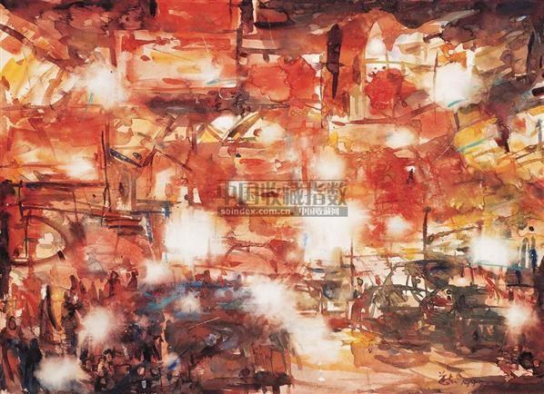 夜市 - 12739 - 中国当代水彩 - 中国当代水彩名家精品邀请展暨专场拍卖会 -收藏网