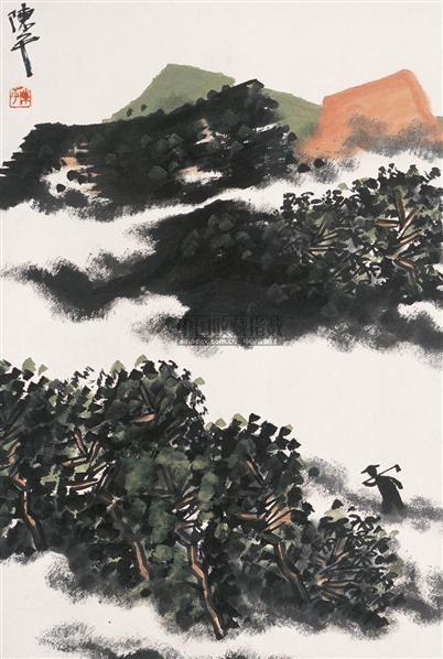 山水 镜心 设色纸本 - 136592 - 中国书画 - 2005首届书画拍卖会 -收藏网