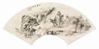 石梁飞瀑 扇面 设色纸本 - 程门 - 中国书画 - 2008第四季艺术品拍卖会 -中国收藏网