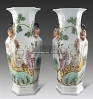 粉彩寿星三多六棱耳瓶 (一对) -  - 古董珍玩 - 2011春季艺术品拍卖会 -收藏网