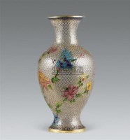清 铜丝骨套料花鸟纹敞口瓶 -  - 瓷器 玉器 书画 杂项 - 2007年秋季拍卖会 -收藏网
