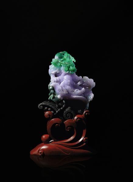 翡翠紫罗兰龙生太子摆件 -  - 翡翠、名石、文玩杂件、紫砂、书画 - 2011年秋季艺术品拍卖会 -收藏网