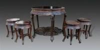 红木圆桌圆凳五件套 -  - 明清古典家具专场 - 明清古典家具专场拍卖会 -收藏网