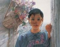 花与少女 布面 油画 - 毛以岗 - 中国油画 雕塑影像 - 2006广州冬季拍卖会 -收藏网