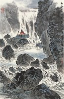 山泉图 立轴 设色纸本 - 114795 - 中国书画艺术品专场 - 2011年秋季艺术品拍卖会 -收藏网
