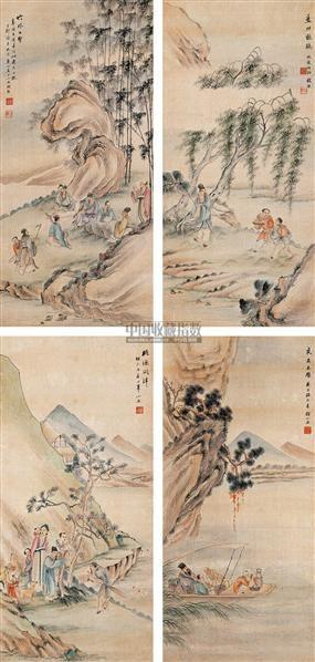 钱熊(1898-1971)山水人物四屏 堂屏 -  - 中国书画(二) - 2007秋季艺术品拍卖会 -收藏网
