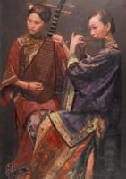 陈逸飞 1999年作 琴韵笛音 - 陈逸飞 - 中国油画雕塑 - 2006秋季拍卖会 -中国收藏网