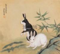 双兔 立轴 绢本 - 116774 - 中国书画(一) - 庆二周年秋季拍卖会 -收藏网