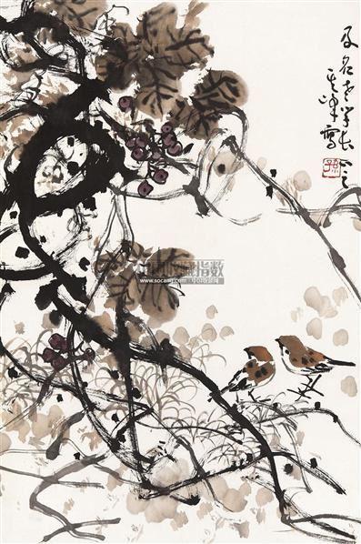 葡萄麻雀 镜片 纸本 - 1722 - 中国书画(一) - 2011年春季拍卖会 -收藏网