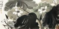 荷塘 镜片 设色纸本 - 128233 - 中国书画——得自名家家属专场 - 2011秋季拍卖会 -收藏网