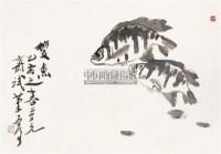 双鱼 镜心 设色纸本 - 魏启后 - 齐鲁画风奠基者 - 2011春季艺术品拍卖会 -收藏网