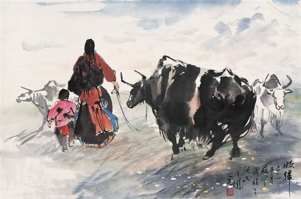 牧归 立轴 设色纸本 - 1356 - 中国当代水墨 - 2006秋季拍卖会 -收藏网