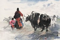 牧归 立轴 设色纸本 - 杨之光 - 中国当代水墨 - 2006秋季拍卖会 -收藏网