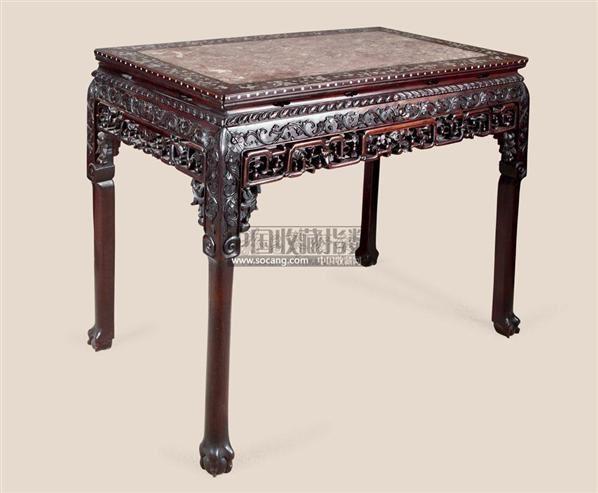 红木雕花嵌大理石长方桌