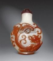 白地套红料螭龙纹鼻烟壶 -  - 字画 玉器 杂项 - 2011中博香港大型艺术品拍卖会 -中国收藏网