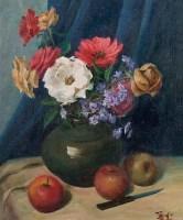 花卉 布面 油画 - 孟光 - 油画雕塑专场 - 2011秋季艺术品拍卖会 -收藏网