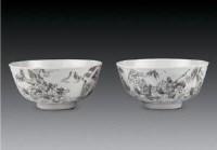 墨彩刻瓷刀马人物纹碗 (一对) -  - 瓷器 玉石 - 2007春季艺术品拍卖会 -收藏网