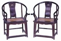 紫檀六棱圈椅 (一对) -  - 明清家具文房小件专场 - 首届明清家具文房小件拍卖会 -收藏网