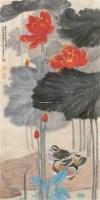 风荷鸳鸯 轴 - 116070 - 中国书画 - 2011年首屇艺术品拍卖会 -收藏网