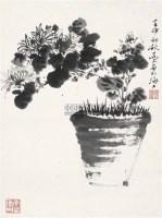 新菊 镜片 水墨纸本 - 乔木 - 中国书画 - 2011年迎春拍卖会 -收藏网