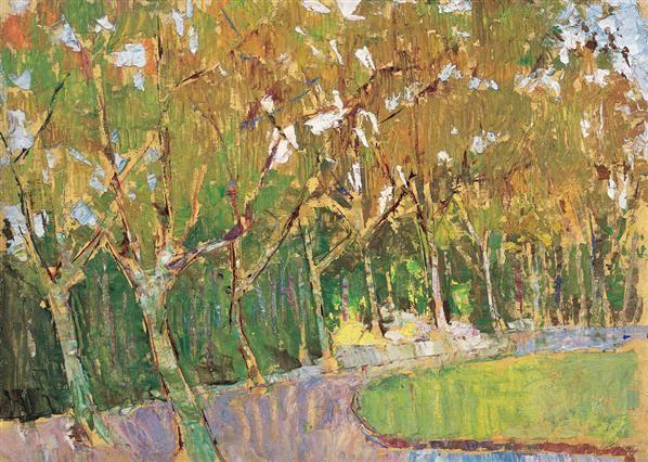 秋天的梧桐树 布面 油画 - 155970 - 中国现当代艺术 - 2007迎春拍卖
