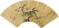 引蝶图 扇片 设色纸本 - 居廉 - 岭南名家书画 - 2011年春季拍卖会 -收藏网