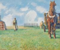 龙力游 蒙古风情 布面油画 - 153325 - 中国油画 - 2006秋季艺术品拍卖会 -收藏网