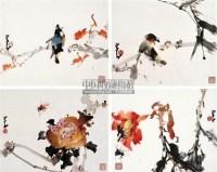 花鸟小品(一) (四帧) 镜片 纸本 - 135045 - 中国书画 - 2011年春季拍卖会 -收藏网