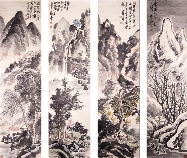 蒲华山水四屏 -  - 书画 - 2008迎春书画艺术精品拍卖会 -收藏网