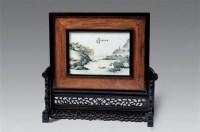 民国 汪野亭作春江垂钓山水瓷板 -  - 瓷器雅玩艺术品 - 2007春拍瓷器雅玩家具拍卖 -收藏网