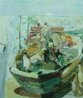 渔家小景 布面油画 - 140643 - 中国油画 雕塑专场 - 2008年迎春艺术品拍卖会 -收藏网