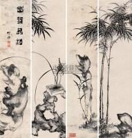 兰竹合屏 立轴 设色纸本 - 竹禅 - 中国书画(二) - 2006年秋季艺术品拍卖会 -收藏网