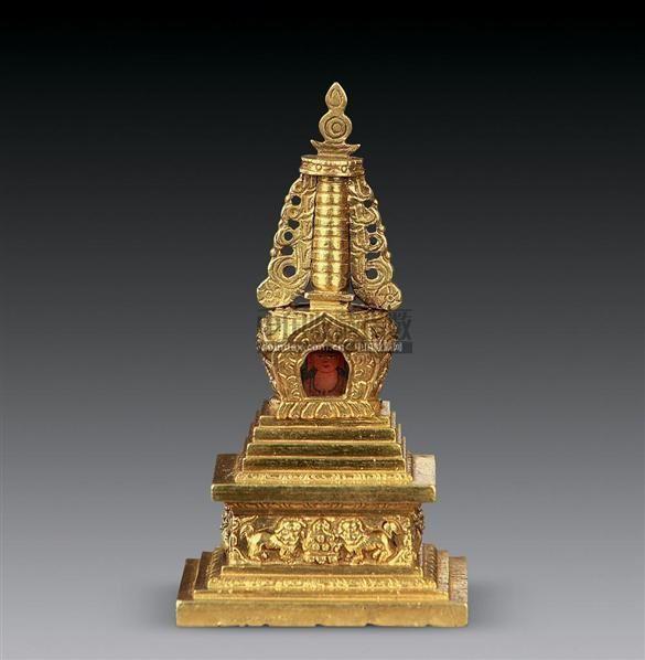 铜鎏金佛塔 - - 瓷器杂项
