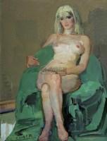 金髮女郎 布面油画 - 王琨 - 中国西画及漆画 - 2007秋季拍卖会 -收藏网
