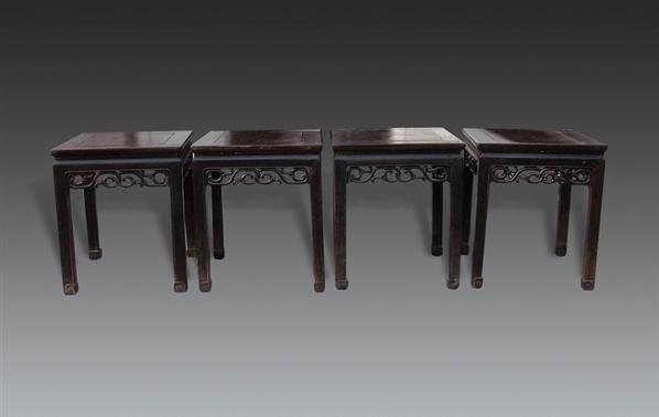 红木卷草纹杌凳四只 - - 明清古典家具专场 - 明清古典家具专场拍卖会