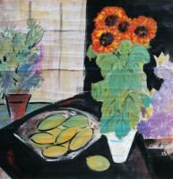 向日葵与芒果 设色纸本 - 116036 - 书画 - 2012新年艺术品拍卖会 -收藏网