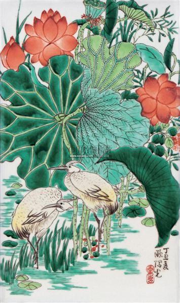 欧阳光 荷塘鹭鸣 古彩瓷板图片