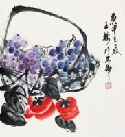 葡萄 立轴 设色纸本 -  - 中国书画 - 2008太平洋迎春艺术品拍卖会 -收藏网