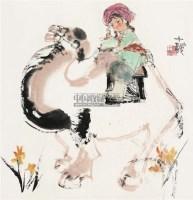 少女与骆驼 镜心 设色纸本 - 116015 - 海上五大家专场 - 首届艺术品拍卖会 -收藏网