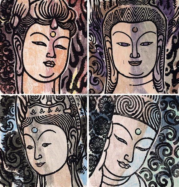 敦煌组画 (四件套) 凸版(水印木刻)图片